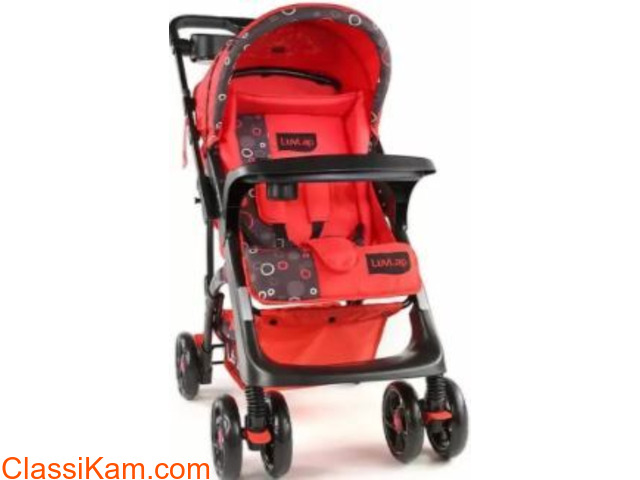 LuvLap Sports Stroller /Pram, Red color - 2