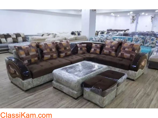 0% EMI from bajaj finance L shape wooden sofa with center table - 1