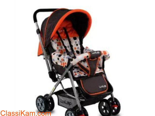LuvLap Sunshine Stroller/Pram, Easy Fold(Orange) - 1